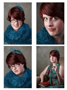 Clockwise from top left: Fuzzy scarf with a smile, close-up with serious face, leaning back with glasses in hand, leaning in to show off my peacock feather fascinator! I'm sexy and I know it!