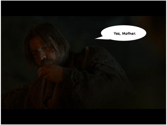 Still in the dark. Jaime lifts an oatcake to his mouth. I have added a speech bubble: