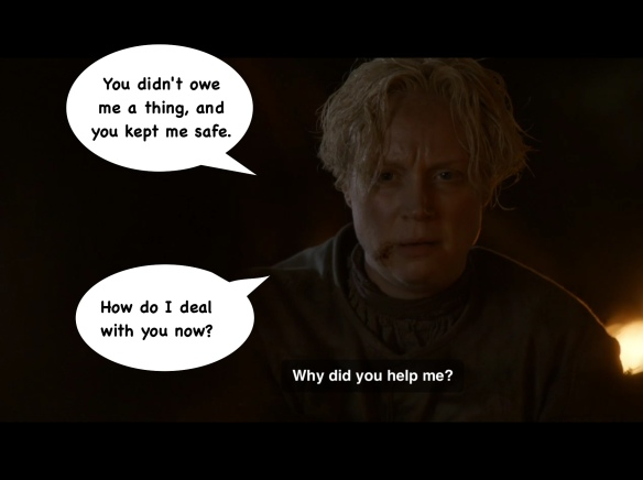 Brienne leans forward and asks: