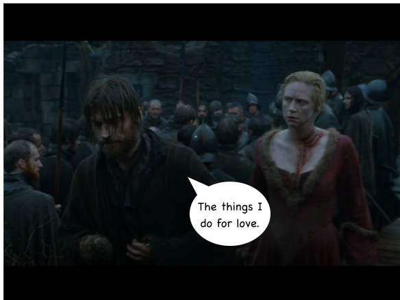 Jaime and Brienne are walking to stage left. There is no dialogue from the show, but I have added a speech bubble for Jaime: