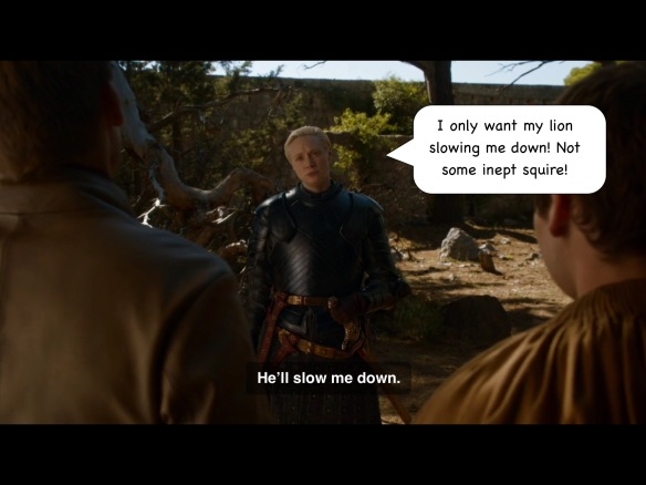 We're outside. Jaime and Podrick are in the foreground, with their backs to us. Brienne faces the camera, wearing her new armor. Her line on the show is: