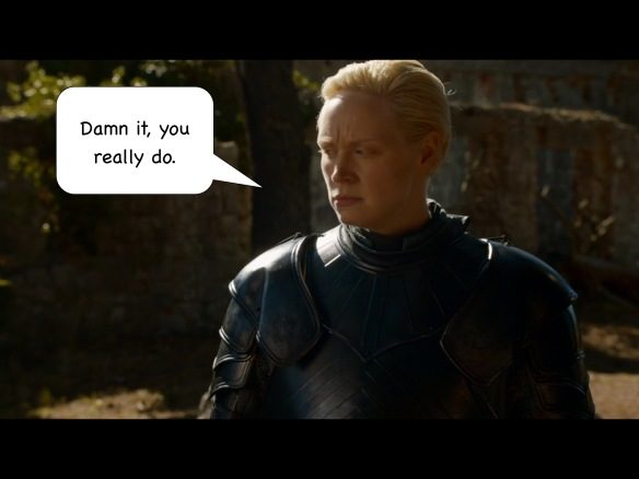 Brienne looks off to the side. No line on the show. I have added: