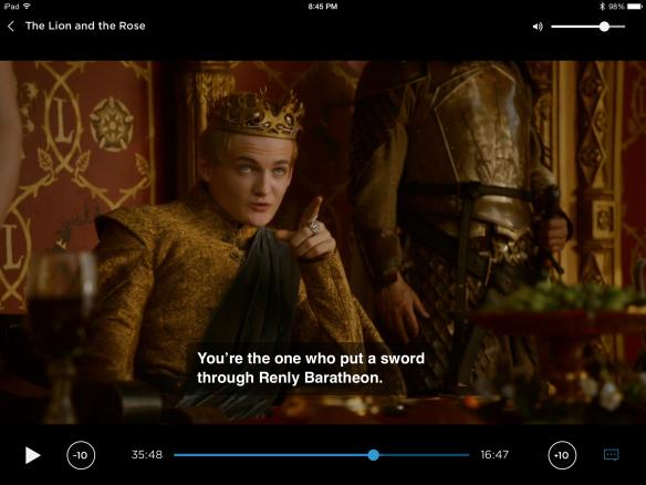 Joffrey points upward, says: