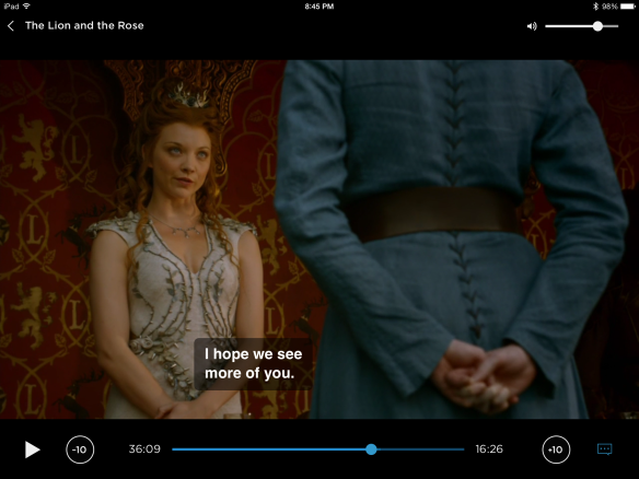 Margaery is facing the camera. We see Brienne from the back. Margaery says to her: