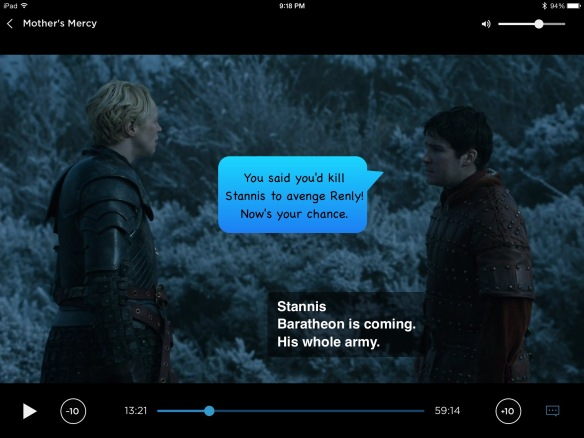 Podrick faces Brienne. His line on the show is: