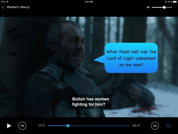 Stannis sits against a tree, and he's not having a good time. On the show, his line is: