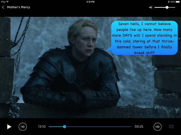 Brienne leans over an outdoor windowsill, looking tired. There's no dialogue on the show. I have given her the following: