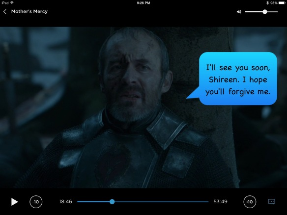 Stannis, with my speech bubble: