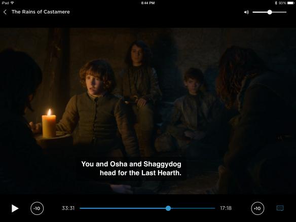 "Bran says to Rickon: ""You and Osha and Shaggydog head out to Last Hearth."""