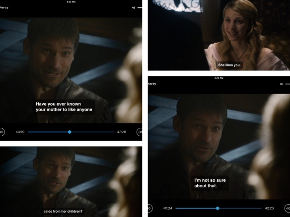Jaime is talking with Myrcella. Dialogue quoted above.