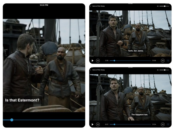 Jaime is on a ship. The dialogue is quoted above.