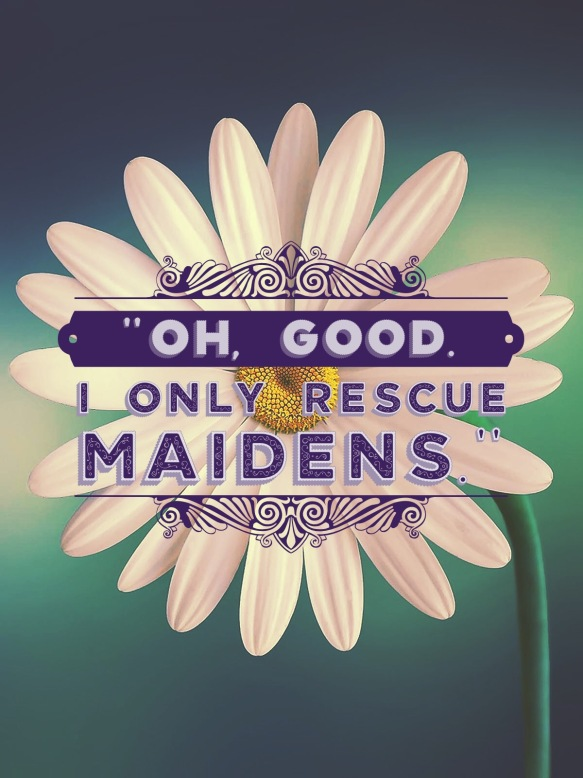 """Oh, good. I only rescue maidens."""