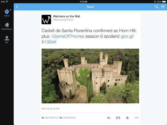 "Tweet with photo of Castell de Santa Florentina: """